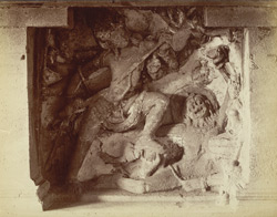 [Sculptured panel of Shiva spearing Andhaka in Hindu Cave XV (Dasavatara), Ellora.]
